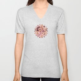 Lady Rose Cat in Flower Meadow , Vintage Pink & Brown Feline enjoying the Blooms Unisex V-Neck