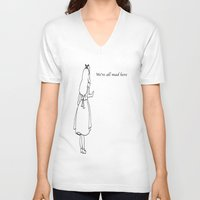 alice wonderland V-neck T-shirts featuring Wonderland by Godinsky