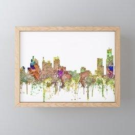 Detroit, Michigan Skyline - Faded Glory Framed Mini Art Print