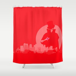 Jack The Ripper Red Background Shower Curtain