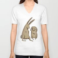 bunnies V-neck T-shirts featuring Two Bunnies by Sophie Corrigan