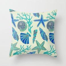 Blue Seashells Throw Pillow
