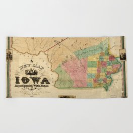 Map of Iowa (1845) Beach Towel
