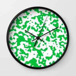 Spots - White and Dark Pastel Green Wall Clock