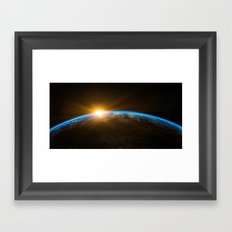 Sunrise over the Earth from Space Framed Art Print