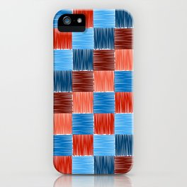 background squares blue red embroidery iPhone Case
