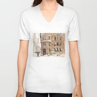 takmaj V-neck T-shirts featuring Winter in NYC by takmaj