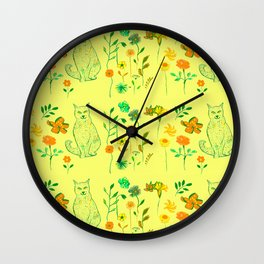 Cat in the garden - Pattern Wall Clock