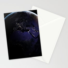 The Earth at Night 1 Stationery Cards