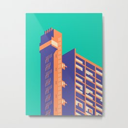 Trellick Tower London Brutalist Architecture - Plain Turquoise Metal Print