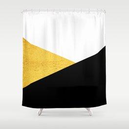 Gold & Black Geometry Shower Curtain
