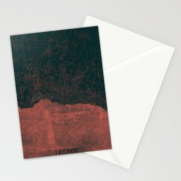 Lausanne Map Red Stationery Cards