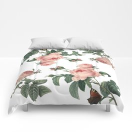 Rose Garden Butterfly Pink on White Comforters