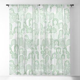 Together Strong - Women Power Watercolor Green Sheer Curtain