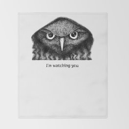 I'm watching you. Black and white hand drawn owl Throw Blanket