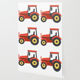 Red Farming Tractor Emoji Wallpaper