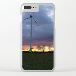 Sun Setting Over the Windmill Clear iPhone Case