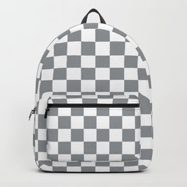 Grey Checkerboard Pattern Backpack