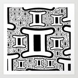 Gemini Zodiac doodle Art Print