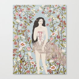 Lady, Flowers, Hummingbirds and Butterflies Canvas Print