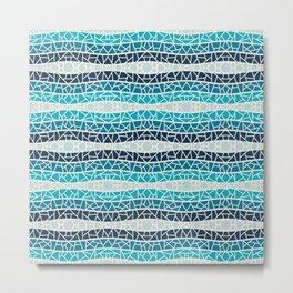 Ocean Blues 1 Wavy Striped Mosaic Metal Print