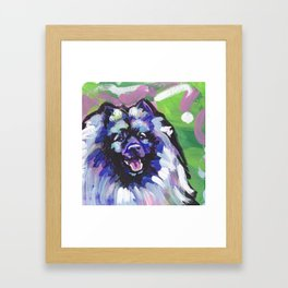 fun KEESHOND bright colorful Pop Art painting by Lea Framed Art Print