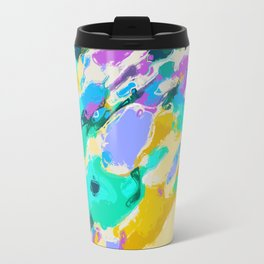 camouflage pattern painting abstract background in green blue purple yellow Travel Mug