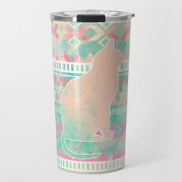 Whimsical Cat, Pink Turquoise Girly Aztec Pattern Travel Mug