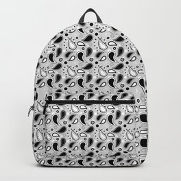 Small Black and White Paisley Pattern Backpack