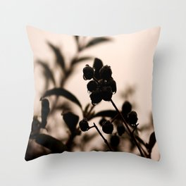 raindrops and hedge berries Throw Pillow