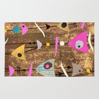 50s Area & Throw Rugs featuring Retro Fantasy 50s Brown Pink by Beatrice Roberts