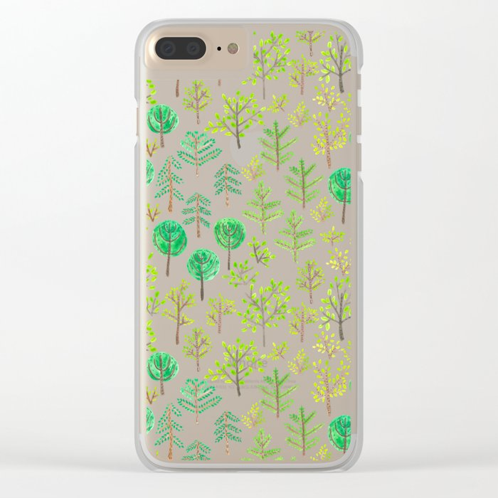 Watercolor forest in doodle style Clear iPhone Case
