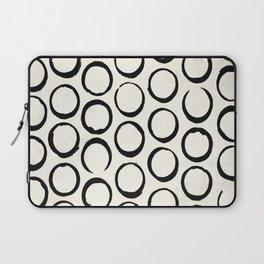 Polka Dots Circles Tribal Black and White Laptop Sleeve