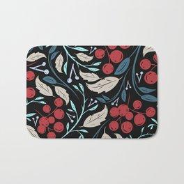 Holiday Holly and Mistletoe Pattern Bath Mat