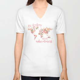 Floral Watercolor World Map - Pink, Coral, Aqua Flowers - Oh Darling Let's Be Adventurers Unisex V-Neck