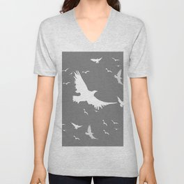 WHITE BIRDS IN FLIGHT GREY ABSTRACT MODERN ART Unisex V-Neck