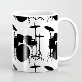 Drumset Pattern (Black on White) Coffee Mug