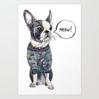 boston terrier Art Prints featuring Boston terrier by Bananastuff