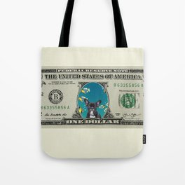 One Dollar note animal French Bulldog fishes Tote Bag