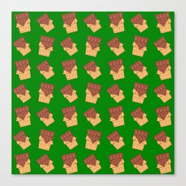 Funny sweet delicious yummy chocolate bars in golden wrappers cartoon green retro vintage pattern Canvas Print