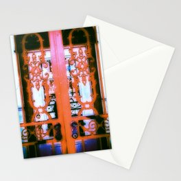 Ornate Iron Gate Red Stationery Cards