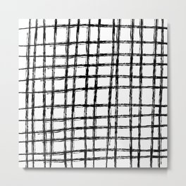 Grid Pattern, Black & White Hand Drawn, Scandinavian Design Metal Print