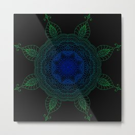 Blue and Green Flower Pattern Metal Print