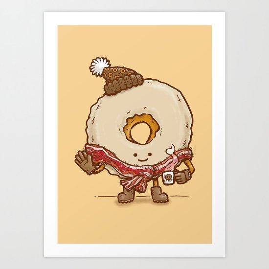 Bacon Scarf Maple Donut Art Print