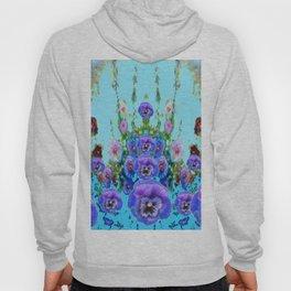 MODERN BLUE WESTERN GARDEN  PURPLE PANSY FLOWERS Hoody