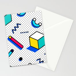Patern in memphis, pop art style Stationery Cards