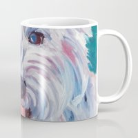 westie Mugs featuring The Westie Kirby Dog Portrait by Barking Dog Creations Studio