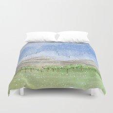 Snowy Watercolor Landscape Duvet Cover