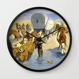 Frederic Remington - The Emigrants - Digital Remastered Edition Wall Clock