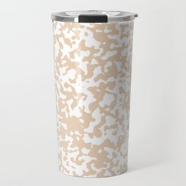 Small Spots - White and Pastel Brown Travel Mug